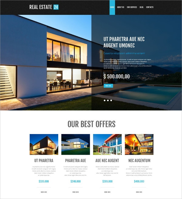 Real Estate Services WordPress Theme $75
