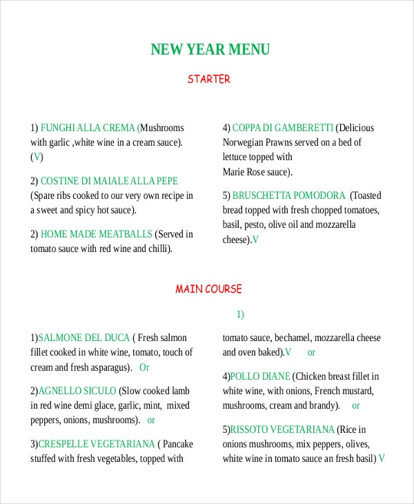 New Year Menu Template