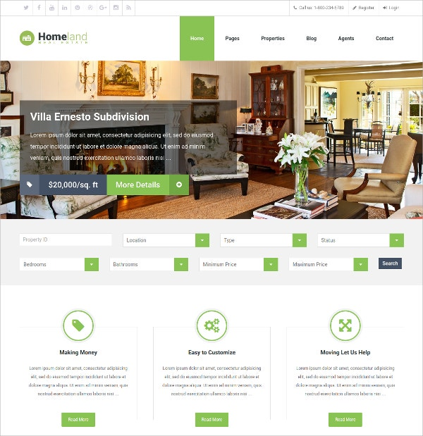 Minimalist Real Estate WordPress Theme $54