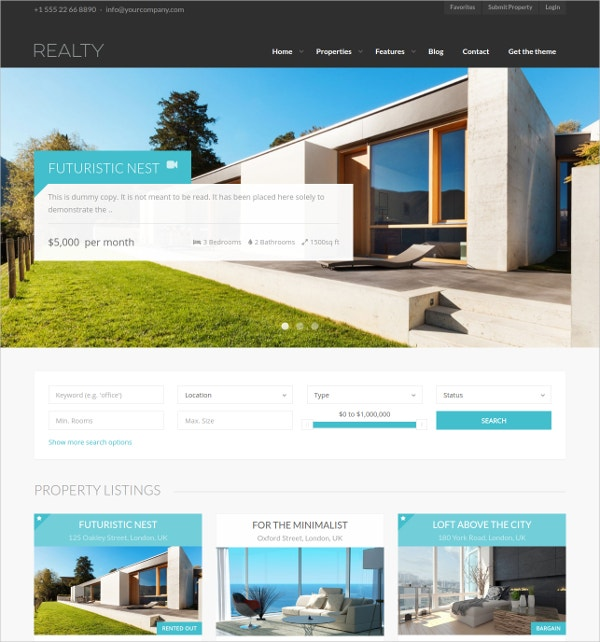 Premium Real Estate WordPress Website Theme