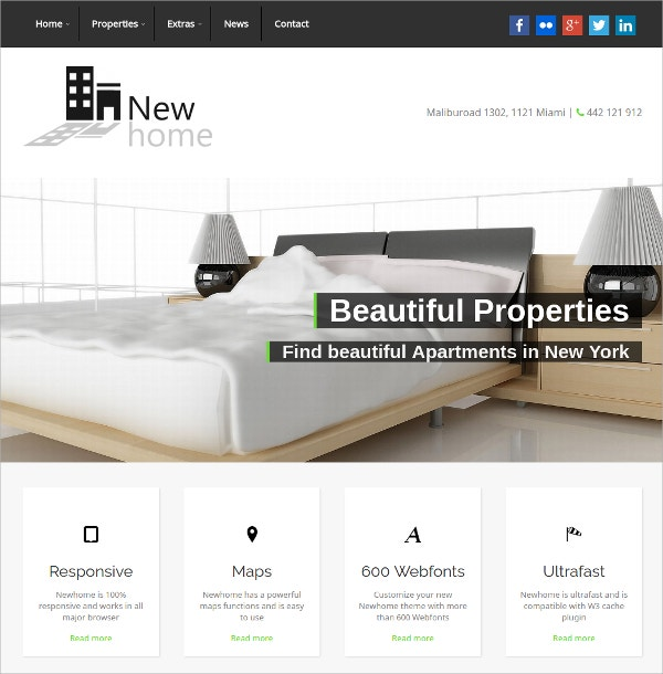 Responsive Real Estate Broker WordPress Theme $49