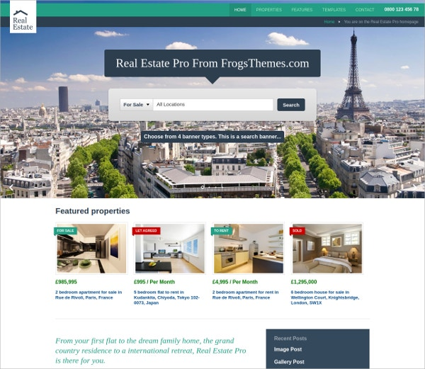 Responsive WordPress Theme For Real Estate Companies $69