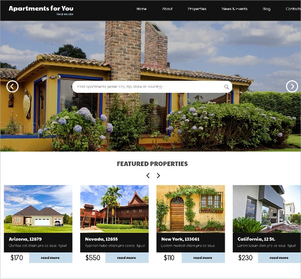 Real Estate Property WordPress Theme $75