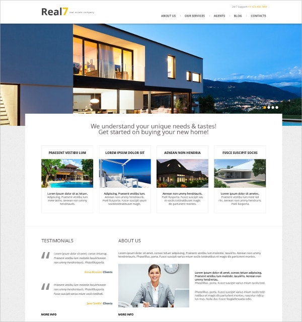 Real Estate Agency Responsive WordPress Theme $75