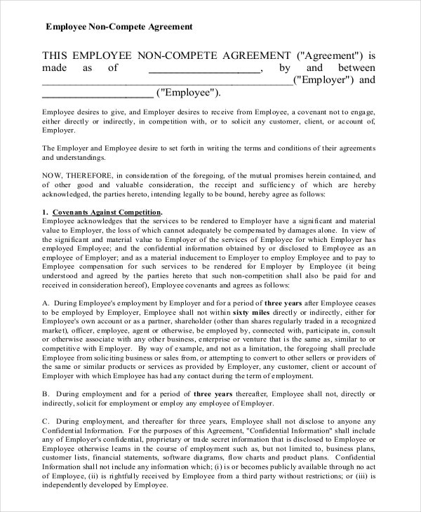 blank form of non compete agreement1