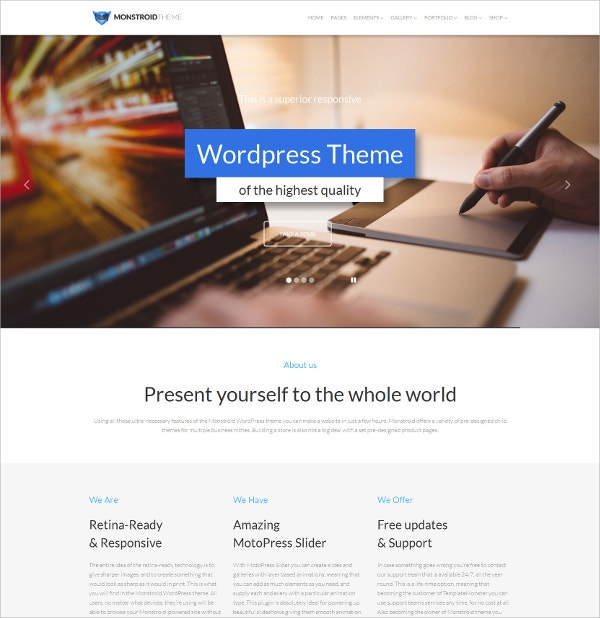 Superior Responsive One page WordPress Theme $59