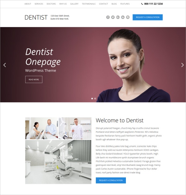 Dental One Page WordPress Theme $44