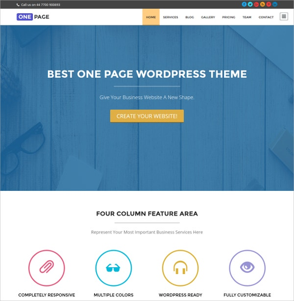 Free Professional One Page WordPress Website Theme