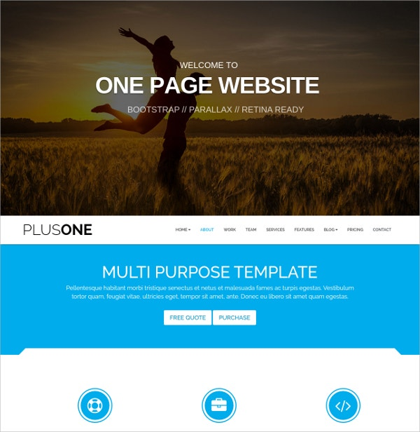 Photography One Page WordPress Theme $39