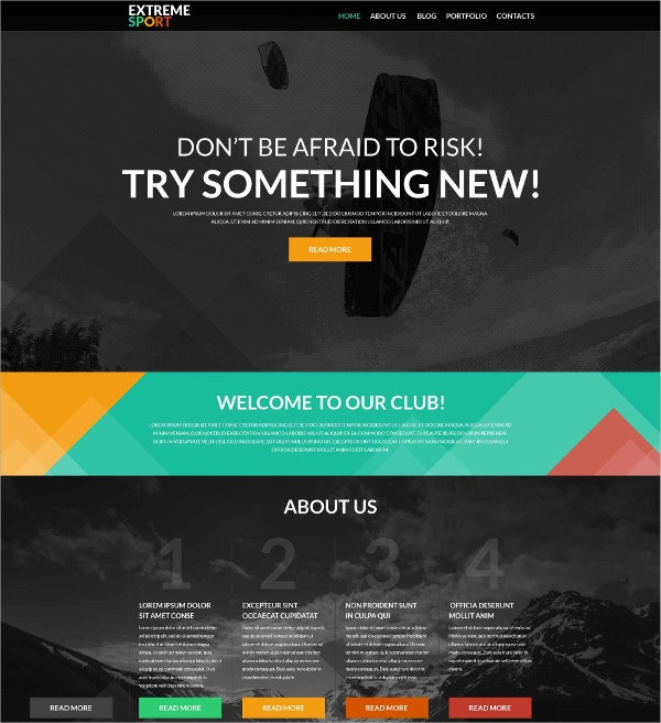 Sports One Page WordPress Theme $75
