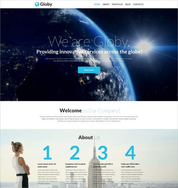 Corporate One Page WordPress Theme $75