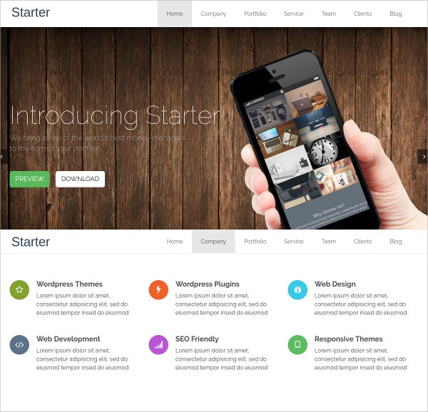 Free Responsive One Page WordPress Website Theme