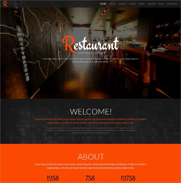 Restaurant One Page WordPress Theme $75
