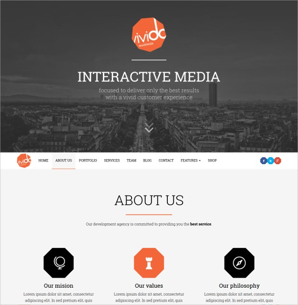 Business One Page WordPress Theme $44