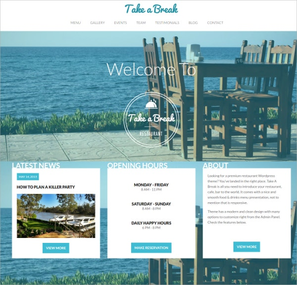 Restaurant One Page WordPress Theme $39