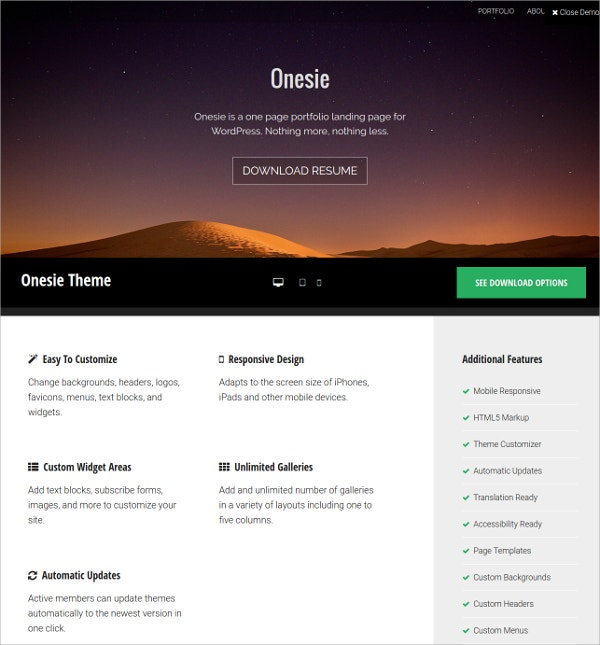 Free One Page Responsive WordPress Webite Theme