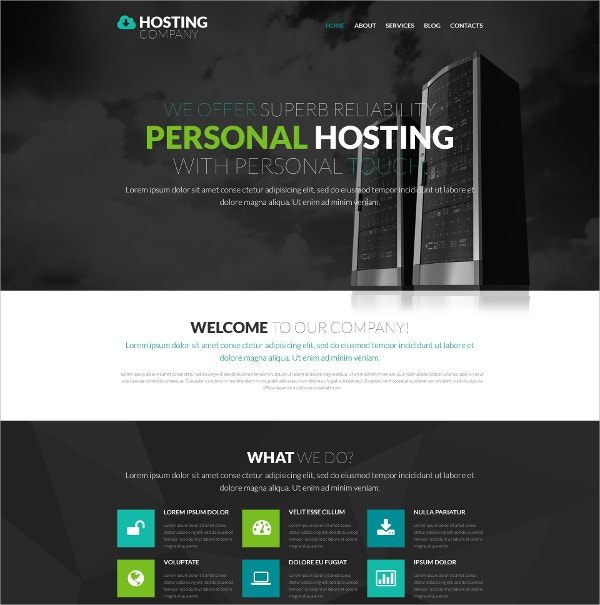 Personal Hosting Provider One Page WordPress Theme $75