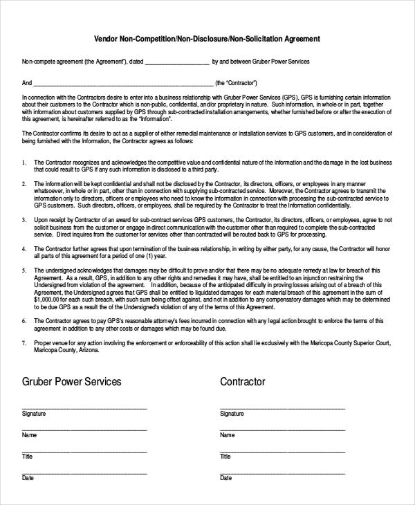 simple non compete agreement of vendor