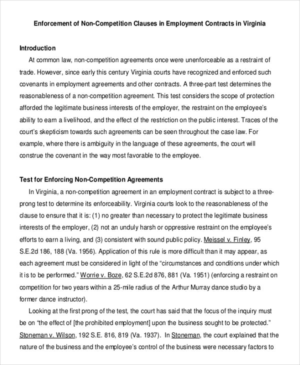 simple clauses of non compete agreement
