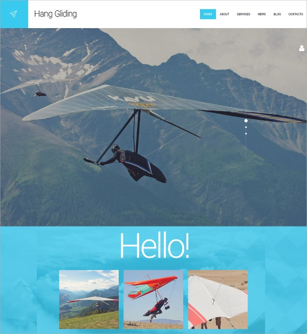 Hang Gliding Sport WordPress Theme $75