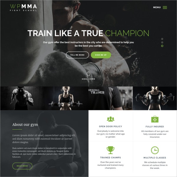 Sports, Gym & Fitness WordPress Theme $55