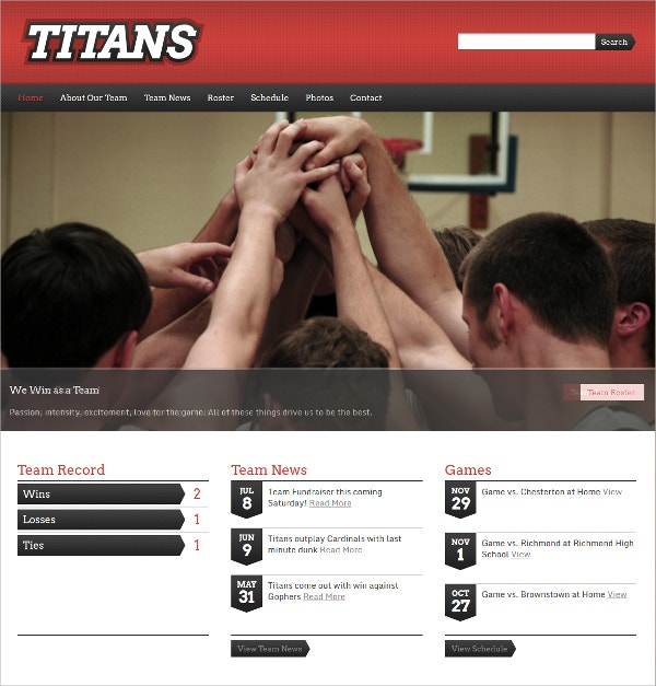 Sports Basketball Team WordPress Theme $49