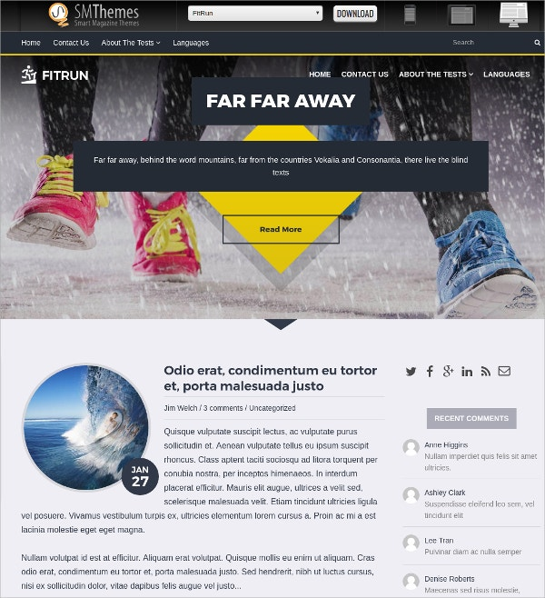 Free Sports & Fitness WordPress Theme