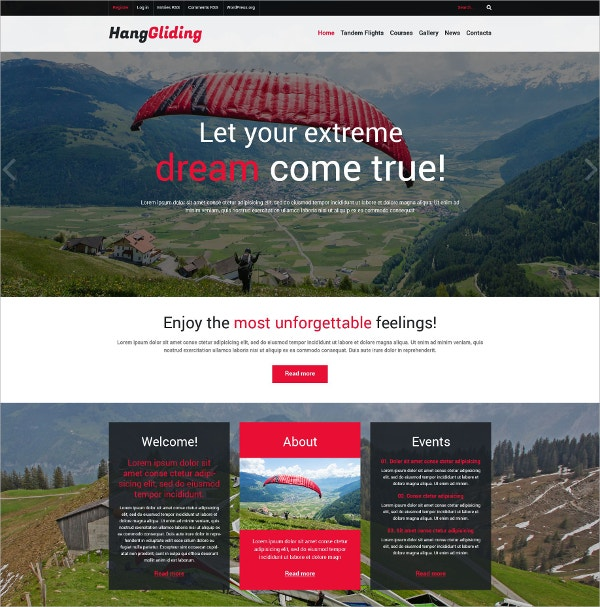 Paragliding Sports Responsive WordPress Theme $75