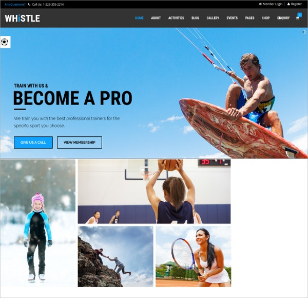 Sports Centre WordPress Theme $59