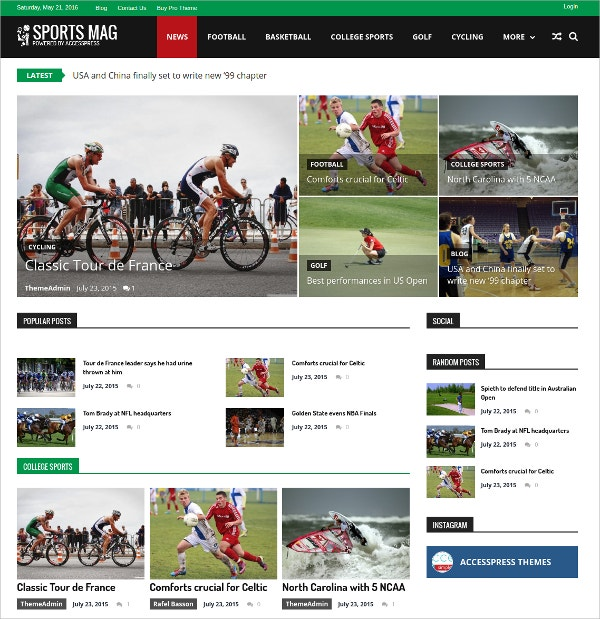 Free WodPress Sports Magazine Theme