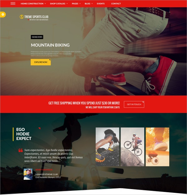 Sports WordPress Club Theme $59