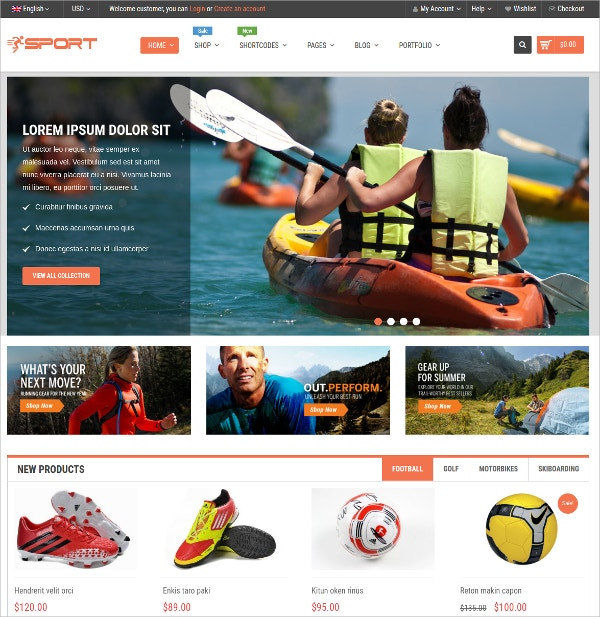 Sports Responsive WordPress Theme $39