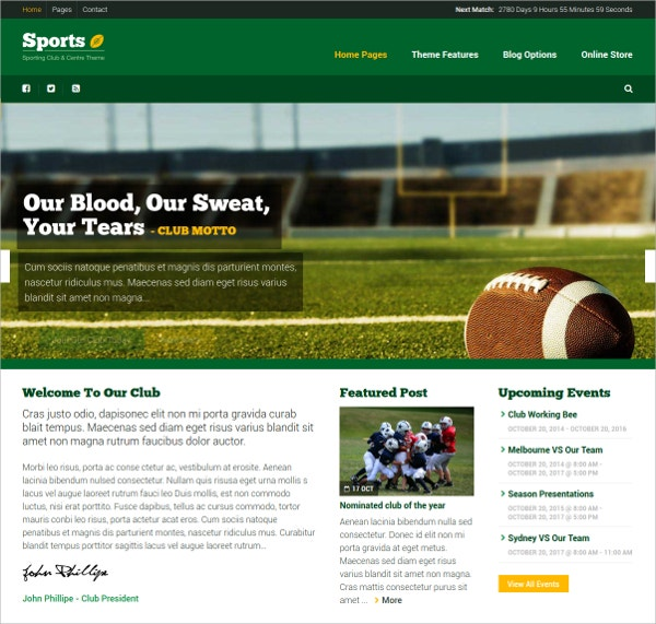 Sporting Club & Community WordPress Theme $58