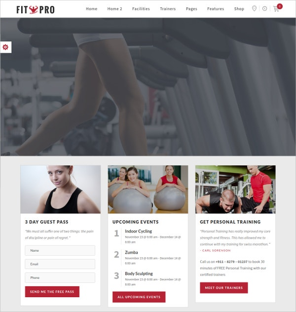 Events Fitness Gym Sports WordPress Theme $59