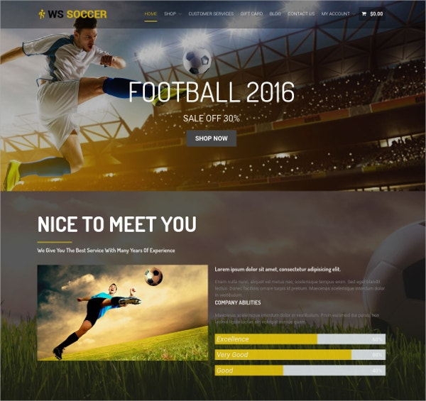 Soccer Sports WordPress Theme $19