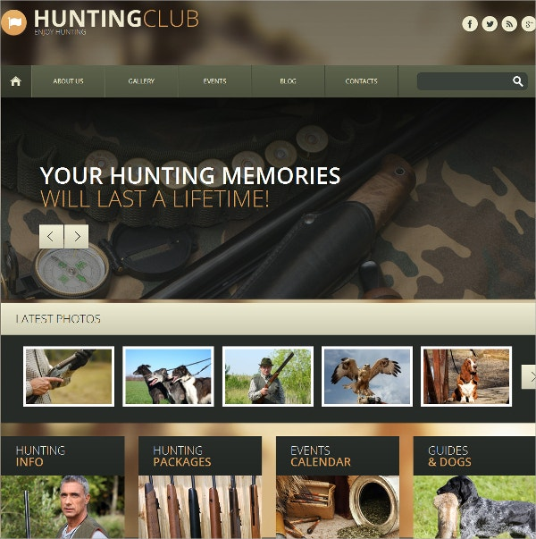 Hunting Sports Responsive WordPress Theme $75