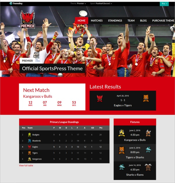 Premium Sports WordPress Theme