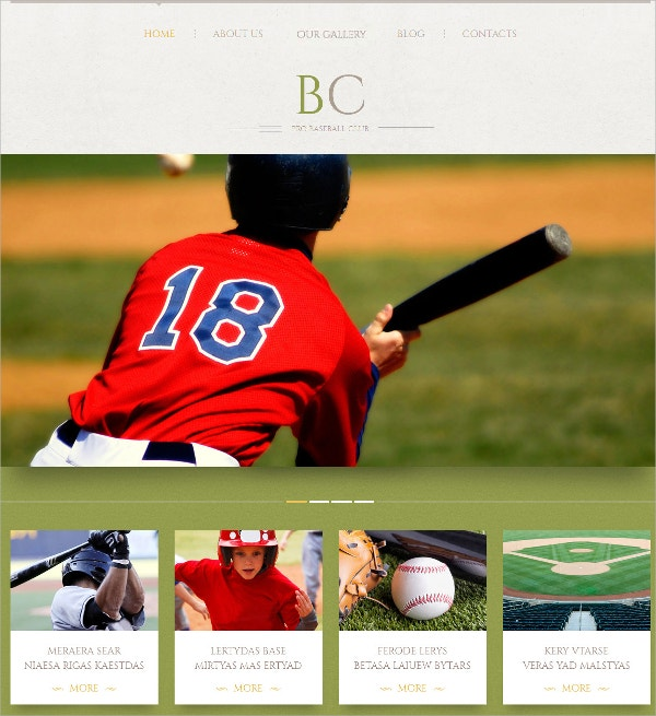 Baseball Sports Responsive WordPress Theme $75
