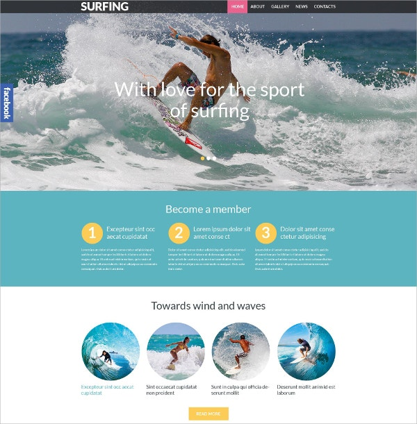 Surfing Sport Responsive WordPress Theme $75