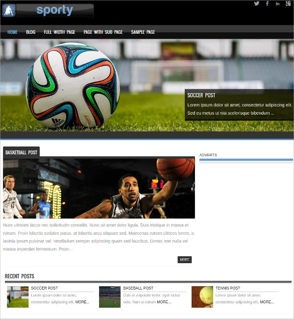Free Responsive Sports WordPress Theme