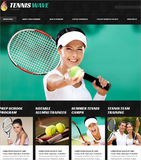 Tennis Sport Responsive WordPress Theme $75