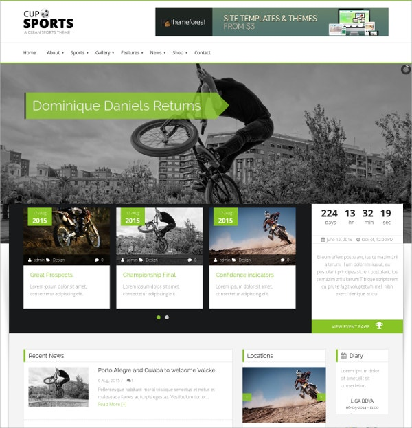 Sporting WordPress Bootstrap Theme $59
