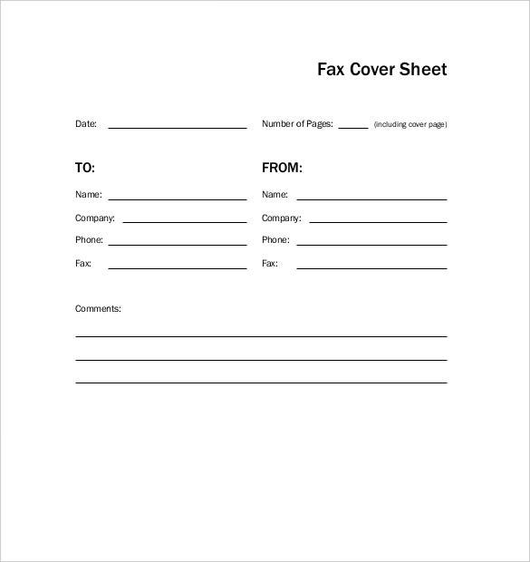Basic Cover Sheet Template  Free Cover Sheet