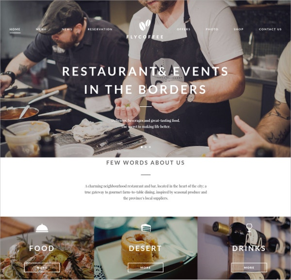 Coffee, Bar And Restaurant WordPress Theme $59