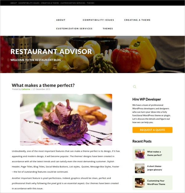 Restaurant Advisor WordPress Theme $2