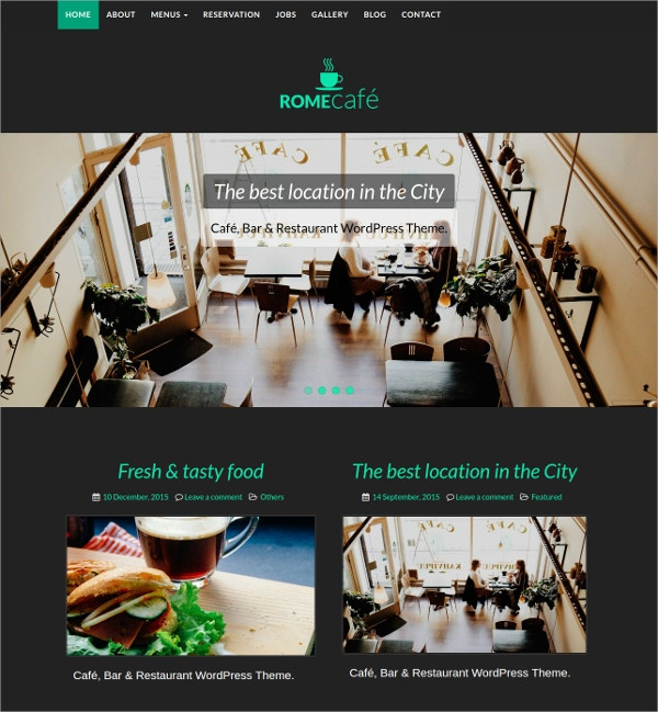 Coffee Shop, Bar & Restaurant WordPress Theme