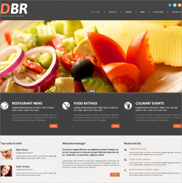 Restaurant Food & Drinks Responsive WordPress Theme $75