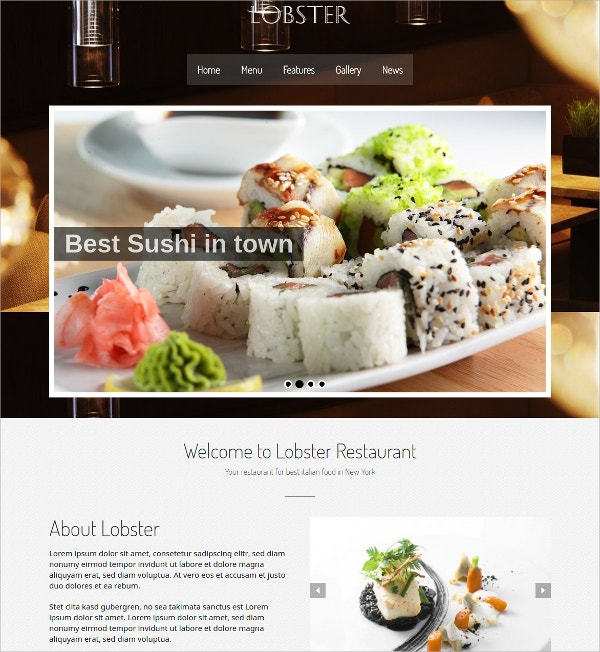 Responsive WordPress Restaurant Theme $49