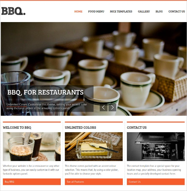 Elegant Restaurant WordPress Theme $44