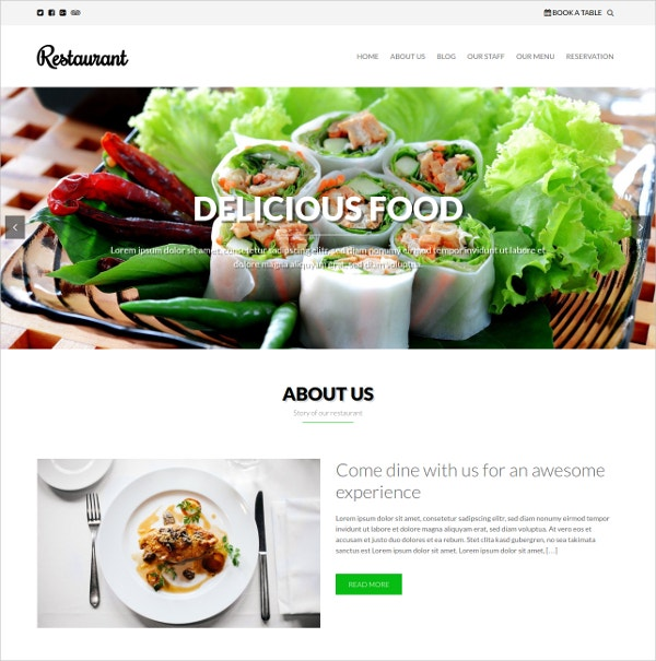 Free Delicious Food WordPress Website Theme